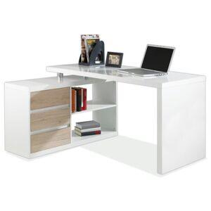 Sconto Rohový psací stůl 6228 bílá/dub sanremo
