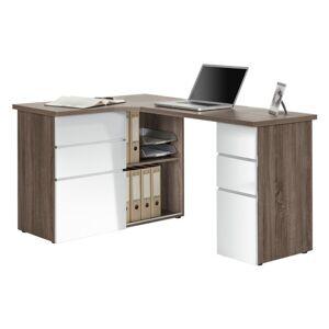 Sconto Rohový psací stůl BAKER dub truffel/bílá