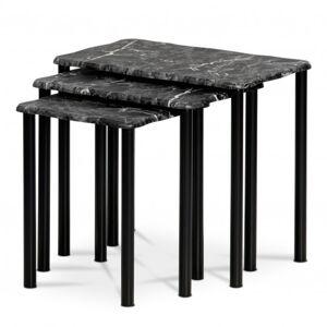 Sconto Přístavné stolky CARRARA černá/dekor mramoru
