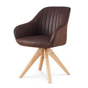 Sconto Jídelní židle CHIP hnědá syntetická kůže/kaučukovník