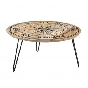 Sconto Konferenční stolek DIEPPE černá/mangové dřevo s potiskem