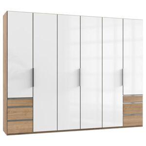 Sconto Šatní skříň ELIOT dub/bílá, 6 dveří