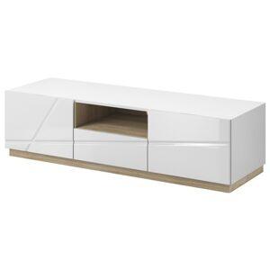 Sconto TV stolek FUTURA 03 bílá vysoký lesk/dub riviera