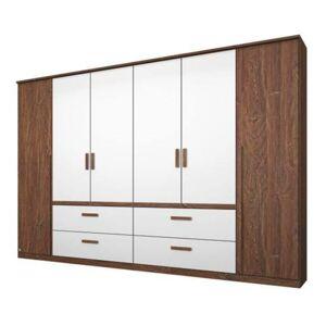Sconto Šatní skříň GABRIELLE dub stirling/alpská bílá, 6 dveří, 4 zásuvky
