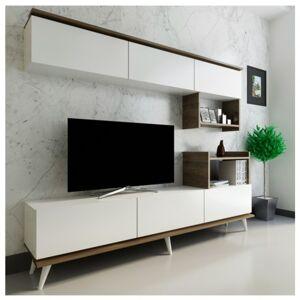 Sconto TV sestava HAZAL bílá/ořech