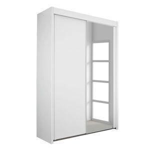 Sconto Šatní skříň KING 2 bílá, 151 cm, 1 zrcadlo