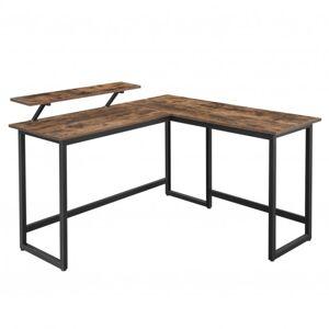 Sconto Rohový PC stůl MONA II černá/hnědá