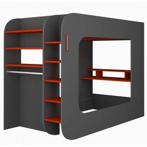 Sconto Patrová postel s PC stolem MSPACE šedá/červená