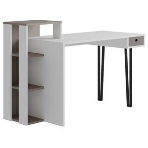 Sconto Psací stůl s regálem PICADILLY LOYD bílá/světla mocha