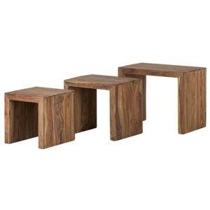 Sconto Přístavné stolky - set 3 ks YOGA palisandr